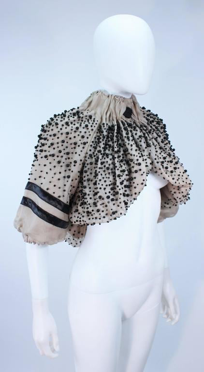 MONCLER Nude Mesh Gathered Bolero with Beaded Applique Size S  In Excellent Condition For Sale In Los Angeles, CA