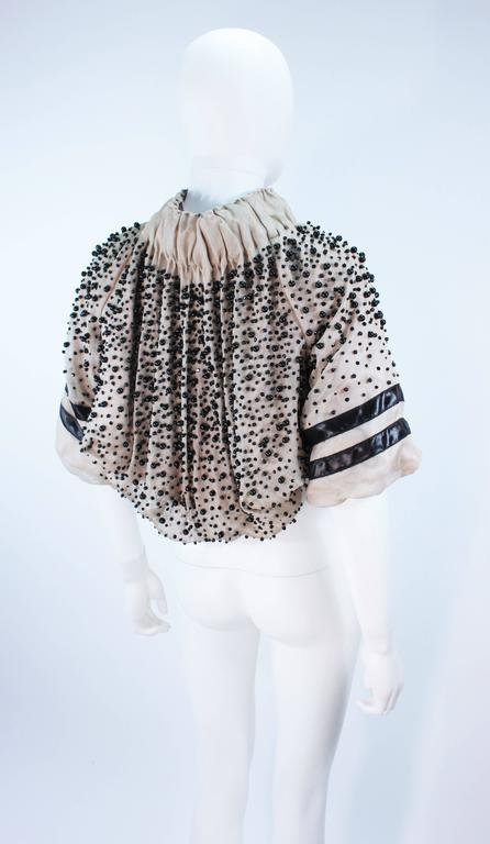 MONCLER Nude Mesh Gathered Bolero with Beaded Applique Size S  For Sale 1