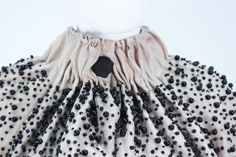 Gray MONCLER Nude Mesh Gathered Bolero with Beaded Applique Size S  For Sale