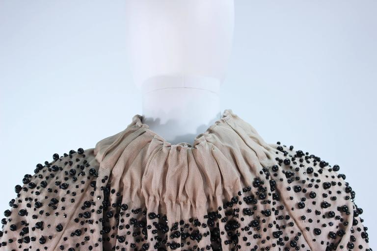 MONCLER Nude Mesh Gathered Bolero with Beaded Applique Size S  For Sale 3