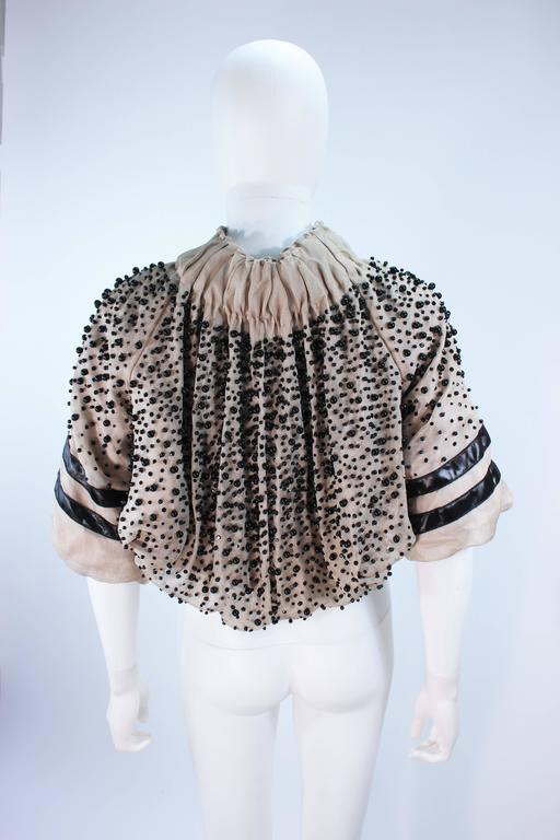 MONCLER Nude Mesh Gathered Bolero with Beaded Applique Size S  For Sale 2
