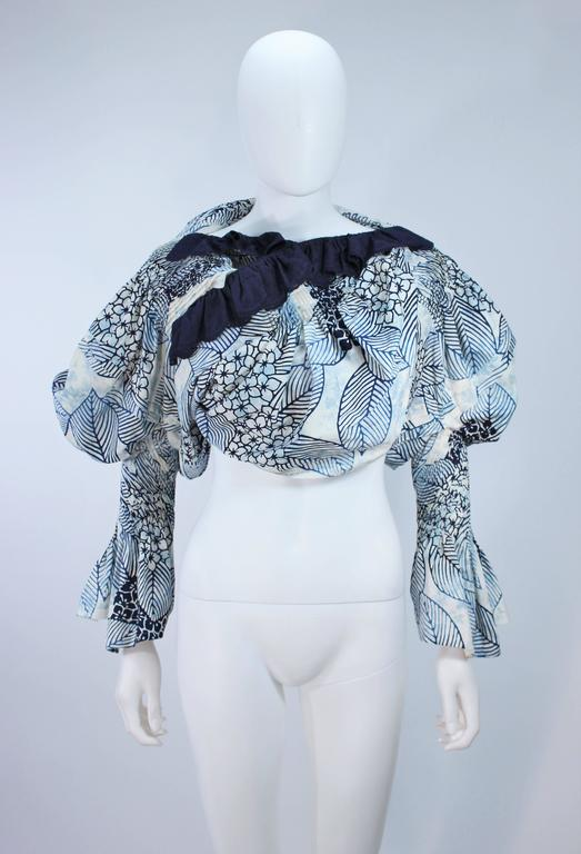 Blue COMME DES GARCONS Floral and Batik Print Blouse with Open Back Size SS For Sale