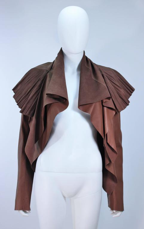RICK OWENS Brown Lamb Leather Drape Jacket with Pleated Back Size 38 3