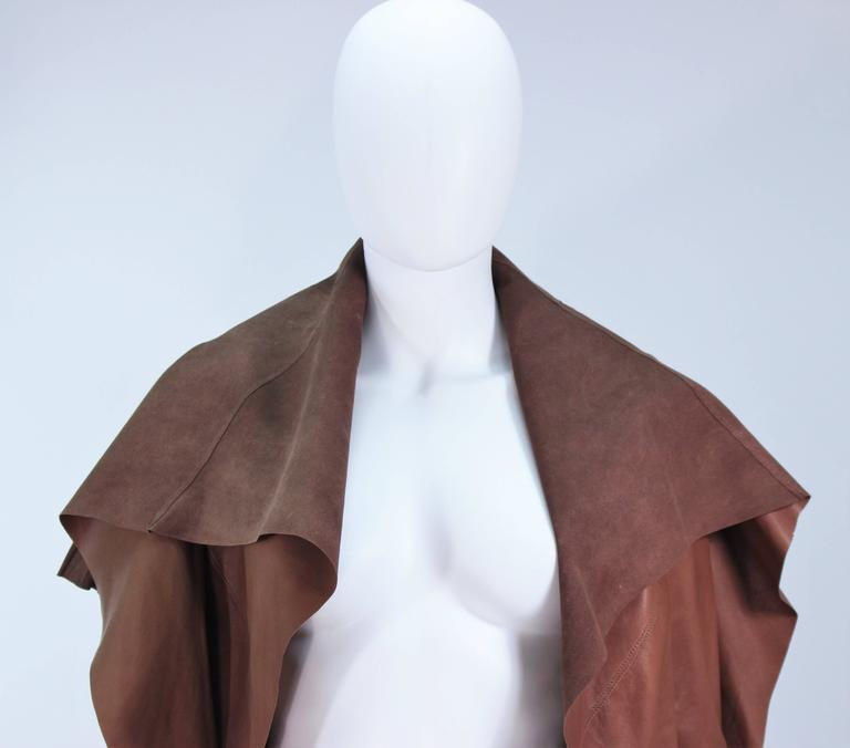 RICK OWENS Brown Lamb Leather Drape Jacket with Pleated Back Size 38 2