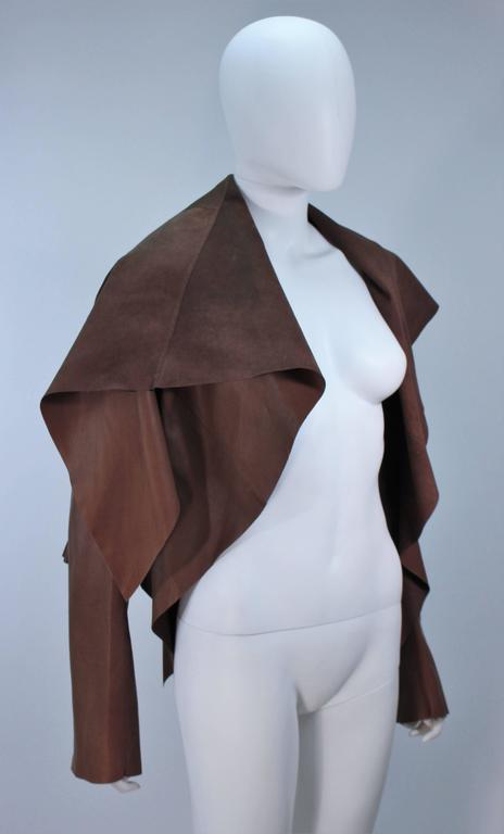 RICK OWENS Brown Lamb Leather Drape Jacket with Pleated Back Size 38 5