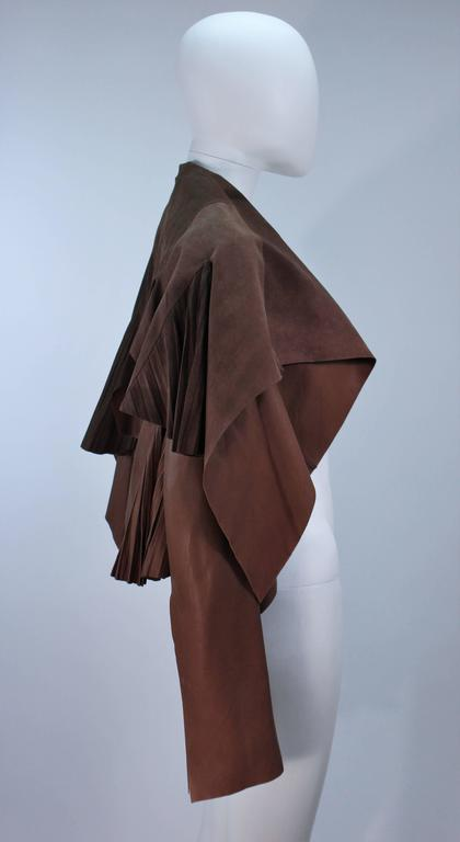 RICK OWENS Brown Lamb Leather Drape Jacket with Pleated Back Size 38 7
