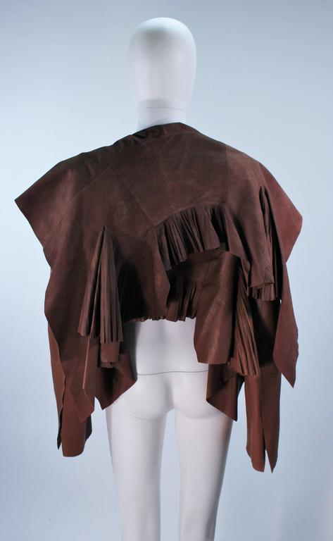 RICK OWENS Brown Lamb Leather Drape Jacket with Pleated Back Size 38 9