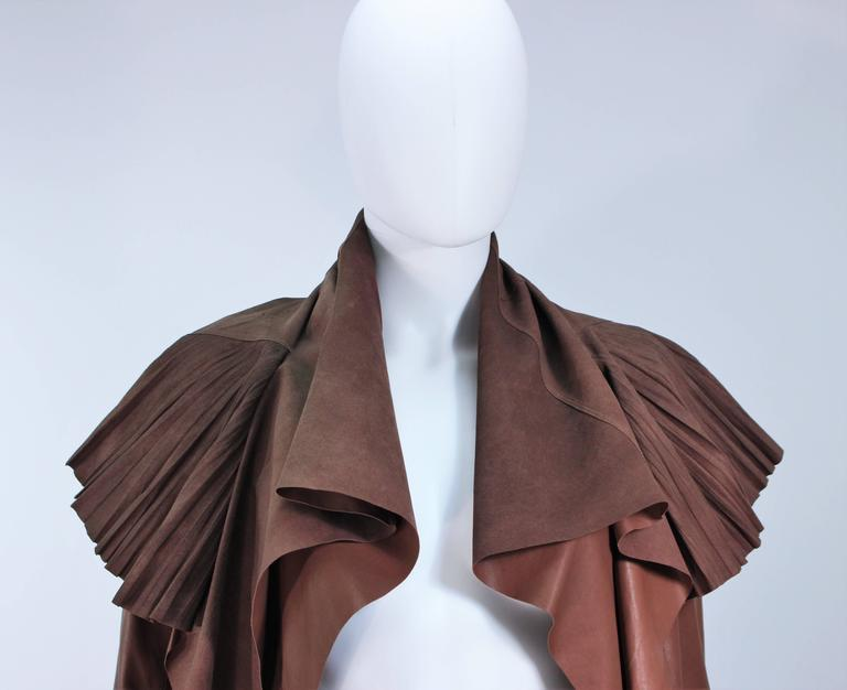 RICK OWENS Brown Lamb Leather Drape Jacket with Pleated Back Size 38 4