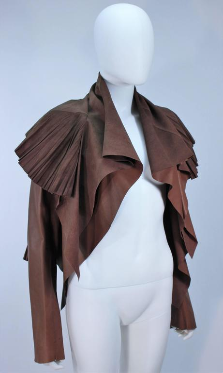 RICK OWENS Brown Lamb Leather Drape Jacket with Pleated Back Size 38 6