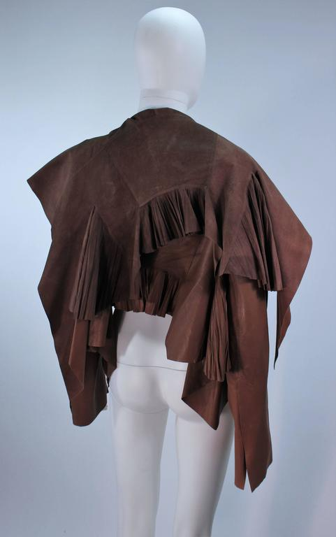 RICK OWENS Brown Lamb Leather Drape Jacket with Pleated Back Size 38 8