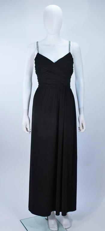 VICTORIA ROYAL Black Draped Jersey Gown with Rhinestone Straps 4 In Excellent Condition For Sale In Los Angeles, CA