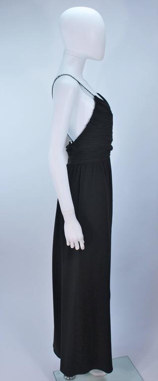 Victoria Royal Black Draped Jersey Gown With Rhinestone