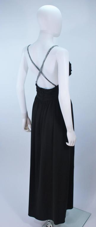 VICTORIA ROYAL Black Draped Jersey Gown with Rhinestone Straps 4 For Sale 1