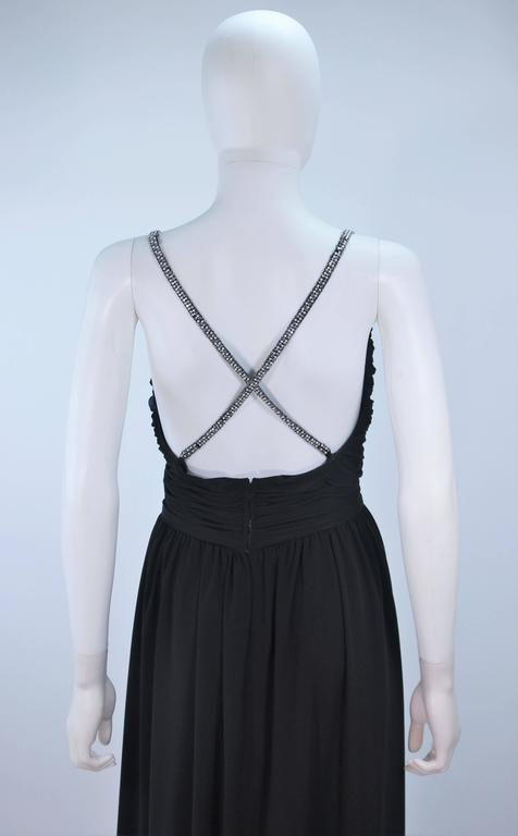 VICTORIA ROYAL Black Draped Jersey Gown with Rhinestone Straps 4 For Sale 4