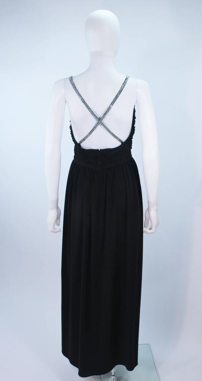 VICTORIA ROYAL Black Draped Jersey Gown with Rhinestone Straps 4 For Sale 3