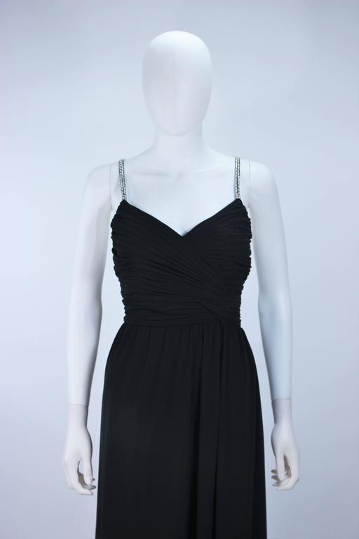 VICTORIA ROYAL Black Draped Jersey Gown with Rhinestone Straps 4 For Sale 5