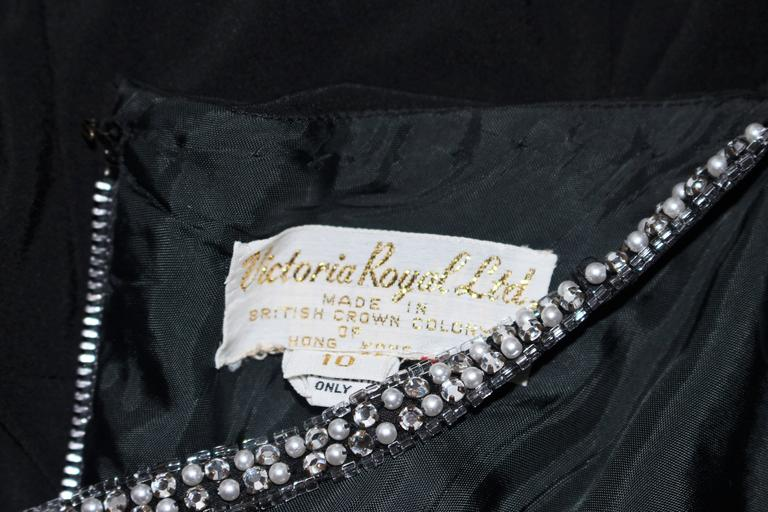 VICTORIA ROYAL Black Draped Jersey Gown with Rhinestone Straps 4 For Sale 6