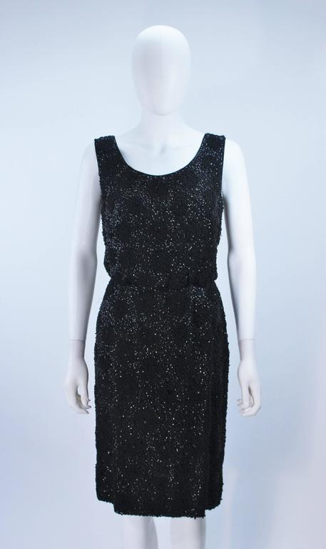 1960's Black Silk Chiffon Beaded Cocktail Dress Size 4 In Excellent Condition For Sale In Los Angeles, CA