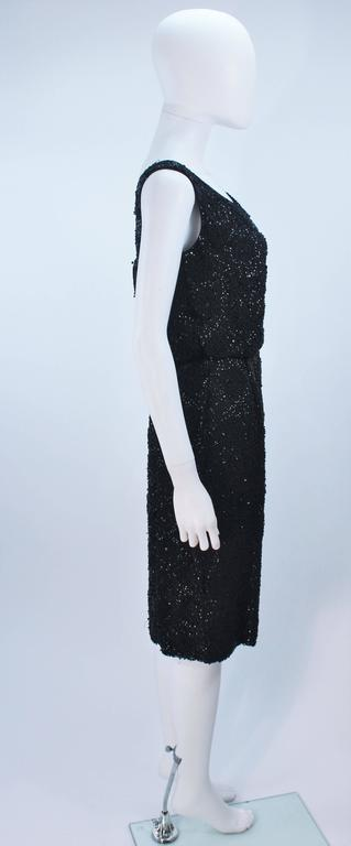 1960's Black Silk Chiffon Beaded Cocktail Dress Size 4 For Sale 3