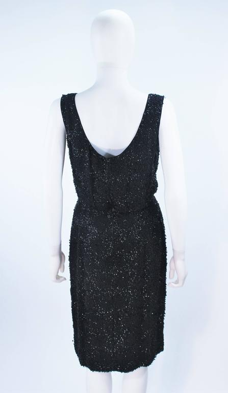 1960's Black Silk Chiffon Beaded Cocktail Dress Size 4 For Sale 5