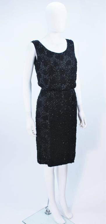 Women's 1960's Black Silk Chiffon Beaded Cocktail Dress Size 4 For Sale