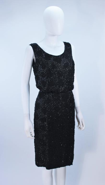 1960's Black Silk Chiffon Beaded Cocktail Dress Size 4 For Sale 1