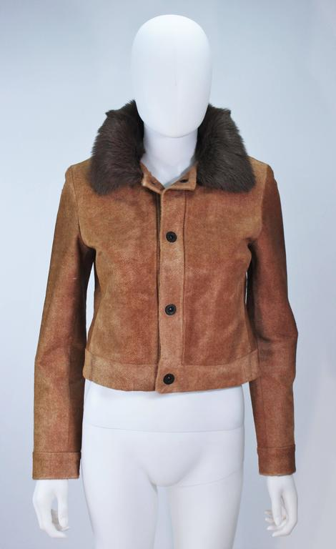 Brown RALPH LAUREN Sheared Chevron Cowhide Jacket Size 2 For Sale