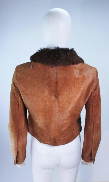 RALPH LAUREN Sheared Chevron Cowhide Jacket Size 2 For Sale 3