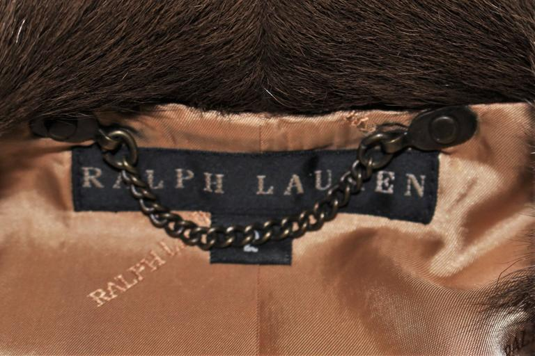 RALPH LAUREN Sheared Chevron Cowhide Jacket Size 2 For Sale 4