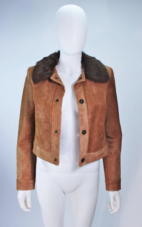 RALPH LAUREN Sheared Chevron Cowhide Jacket Size 2 In Excellent Condition For Sale In Los Angeles, CA