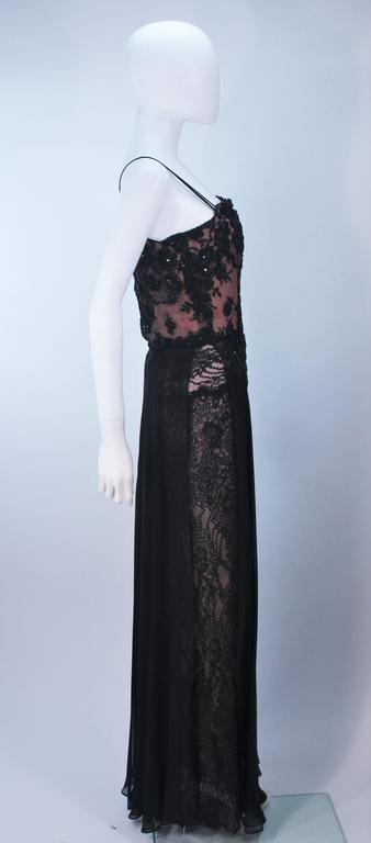 FE ZANDI Beverly Hills Beaded Black Lace Chiffon Gown Size 4 6 For Sale 2