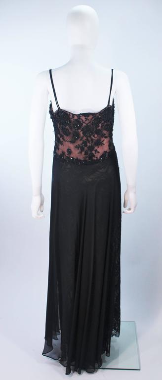 FE ZANDI Beverly Hills Beaded Black Lace Chiffon Gown Size 4 6 For Sale 4