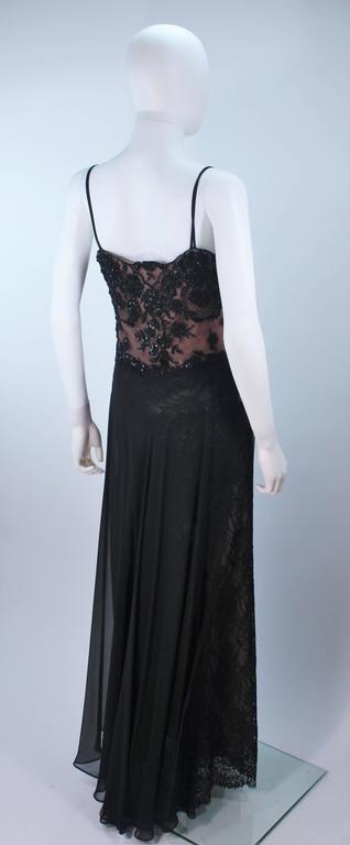 FE ZANDI Beverly Hills Beaded Black Lace Chiffon Gown Size 4 6 For Sale 3