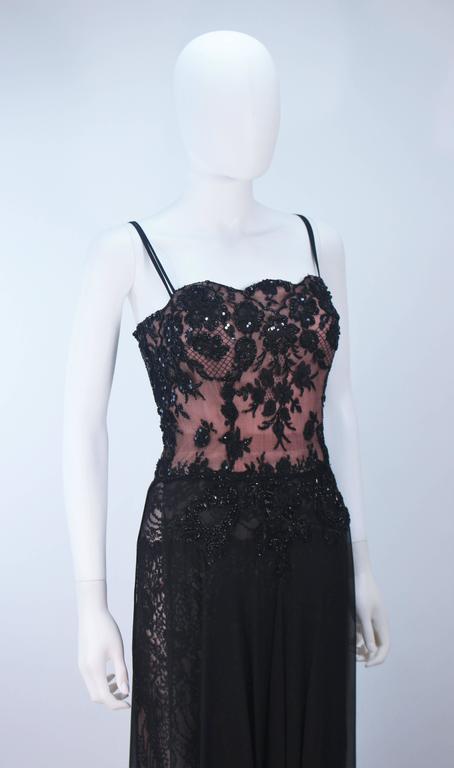 FE ZANDI Beverly Hills Beaded Black Lace Chiffon Gown Size 4 6 For Sale 1