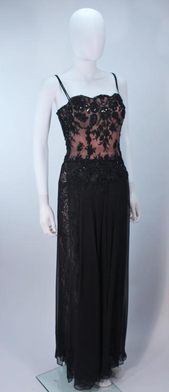 Women's FE ZANDI Beverly Hills Beaded Black Lace Chiffon Gown Size 4 6 For Sale