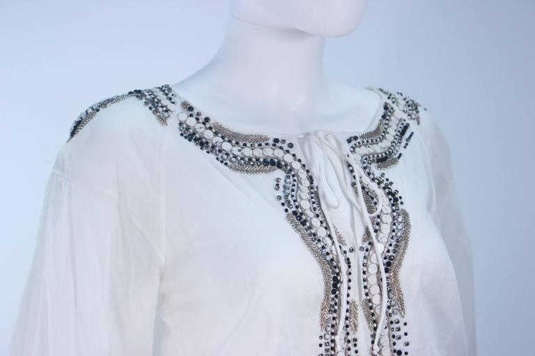 Roberto cavalli white blouse with beaded applique size for sale