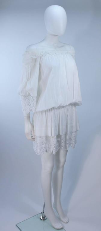 DOLCE AND GABBANA White Tunic with Lace Trim Size 2  5