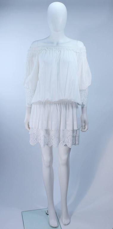 DOLCE AND GABBANA White Tunic with Lace Trim Size 2  2