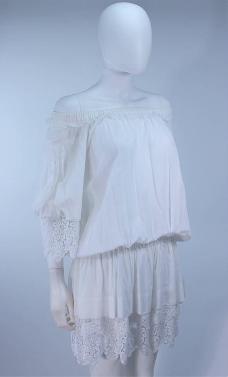 DOLCE AND GABBANA White Tunic with Lace Trim Size 2  6