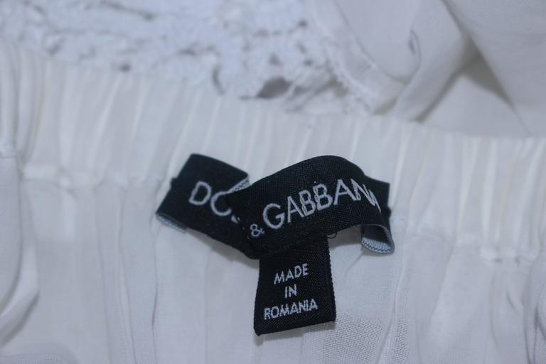 DOLCE AND GABBANA White Tunic with Lace Trim Size 2  10