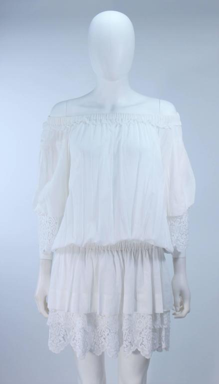 DOLCE AND GABBANA White Tunic with Lace Trim Size 2  3