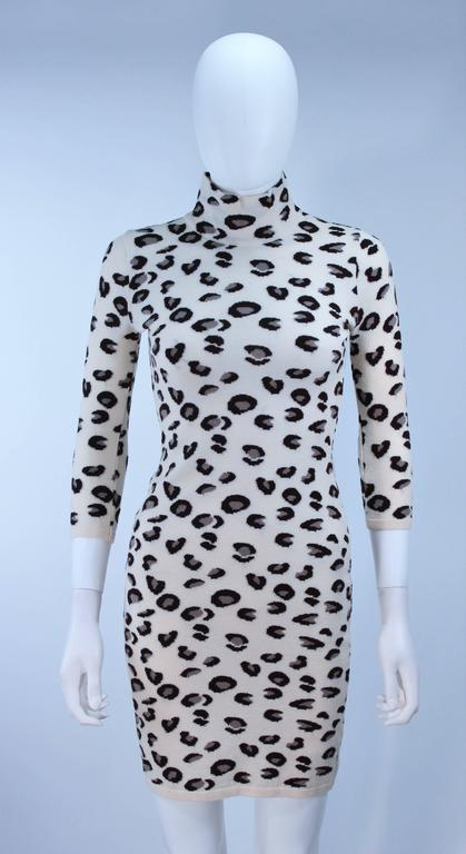 376cd83e20 Gray BLUMARINE Leopard Print Stretch Turtleneck Dress Size Small For Sale