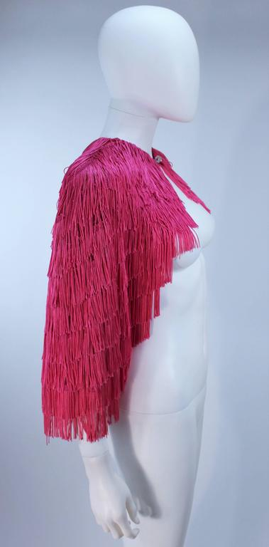 ELIZABETH GILLET NYC Pink Fringe Cape with Faceted Iridescent Button OS 6