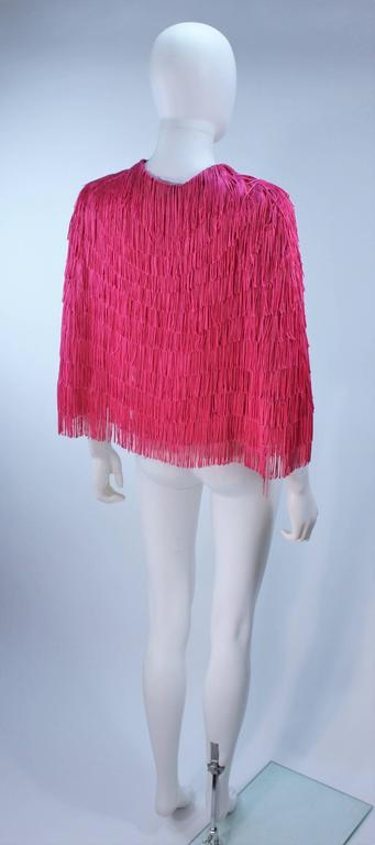 ELIZABETH GILLET NYC Pink Fringe Cape with Faceted Iridescent Button OS 7