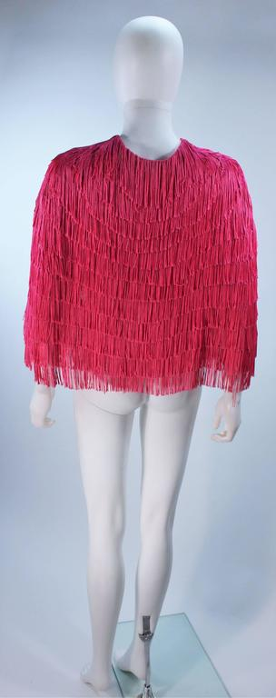 ELIZABETH GILLET NYC Pink Fringe Cape with Faceted Iridescent Button OS 8