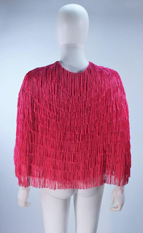 ELIZABETH GILLET NYC Pink Fringe Cape with Faceted Iridescent Button OS 9