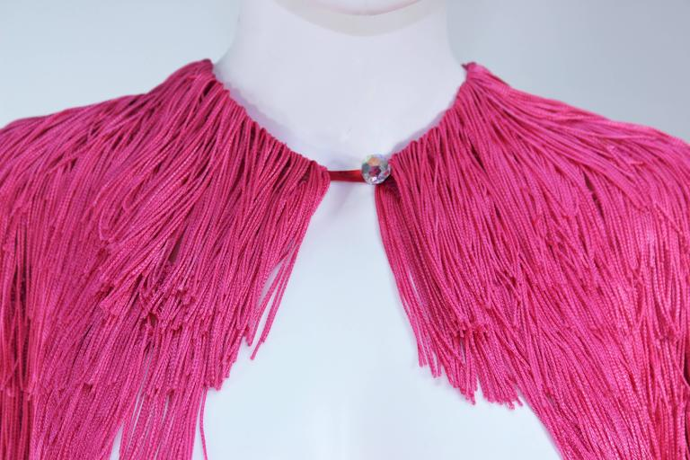 ELIZABETH GILLET NYC Pink Fringe Cape with Faceted Iridescent Button OS 3