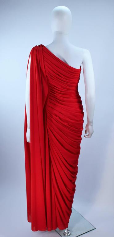ESTEVEZ Red Draped Gathered Jersey Goddess Gown Size 8 10 For Sale 5
