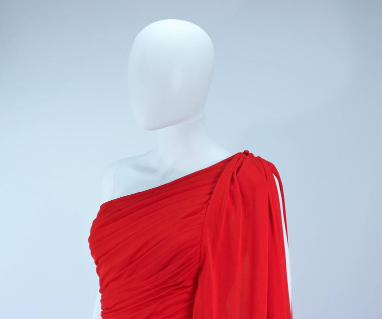ESTEVEZ Red Draped Gathered Jersey Goddess Gown Size 8 10 For Sale 2