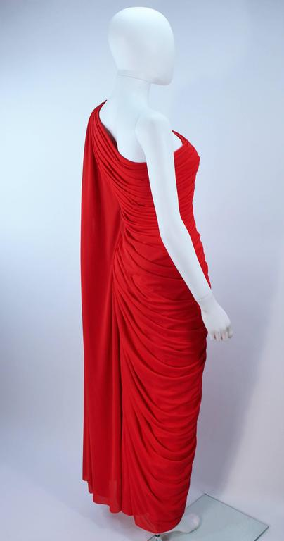 ESTEVEZ Red Draped Gathered Jersey Goddess Gown Size 8 10 For Sale 4